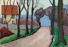 Landstraße mit gelbem Haus (Country Road with Yellow House) - Gabriele Münter - Lot 262 - Result: - Find all details for this object in our online catalog! Franz Marc, Wassily Kandinsky, Landscape Art, Landscape Paintings, Cavalier Bleu, Blue Rider, Lucian Freud, Painting Gallery, Selling Art