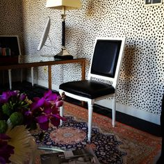 Persian rug + animal print. Just like our great room. Little Green Notebook: Spotted Bench in the Works