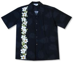 state flower black border hawaiian shirts