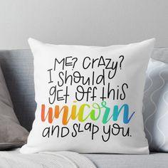 Crazy unicorn Throw Pillow