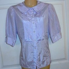 MJ Concepts in Sportswear LILAC Size:Medium Polyester Puff sleeves Button-down  #MJConcepts #ButtonDownShirt #Casual