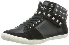 City Walk Zapatillas Mujer con Piedras de Estrás Negro, Mujer, 36 EU