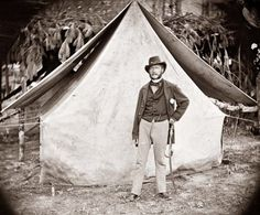 This picture shows a soldier standing in front of his tent. The picture was taken during the Civil War. The soldier is identified as Col. Ernest M.P. Von Vegesack, of the 20th New York Infantry. Exact location the picture was taken is not known.
