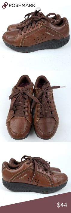 d472b7ab02e Skechers Shape Ups Brown Leather Pre-owned Sketchers Shape Ups Womens Toner  Lace Ups Walking Shoes Leather Brown US Sz Skechers Shoes Sneakers