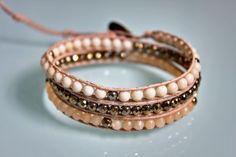 """Bracelet wrap d'Enjoy Wrap modèle """"Pyrite"""" en pierres semi prècieuses"""