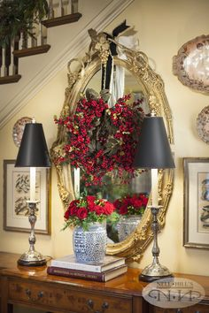 Ideas for entry way,  change mirror frame color, hang wreath in front, add ribbon, sconces, small pictures around