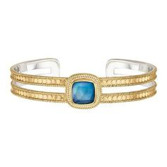 Anna Beck - Gold Lapis Triplet Cushion Double Bar Cuff