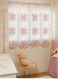 Colored Crochet Curtain Pattern. Filet work with Diagram