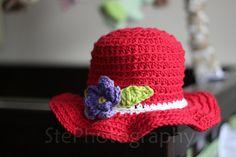 Purple Flower Red Sun Hat 100% Cotton 6-12mo (crochet)