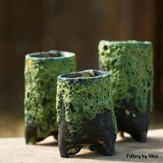 Keith Kitoi Taylor lava pots made for Mike Cone Pottery Pots, Ceramic Pottery, Ceramic Art, Ceramic Boxes, Ceramic Planters, Clay Vase, Clay Pots, Cement Art, Ceramic Texture