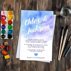 Blue and purple watercolor wedding invitations. Ombré feel. Freshly listed this watercolor look wedding invitation set could be the perfect touch to your big day. Great for the bride on a budget. Designer look for less.