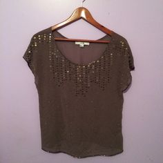 Beaded Army Green Top Geometric beaded/sequined army green top. Sheer. Like new condition! Forever 21 Tops Blouses
