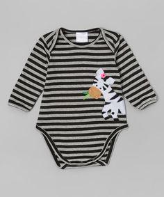 Loving this Silver & Black Stripe Zebra Bodysuit - Infant on #zulily! #zulilyfinds