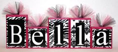 Bella Damask Collection- Zebra print and Damask -  Hot pink, Black and White-Personalized Blocks - Baby - Classroom Decor - Baby Shower on Etsy, $8.50