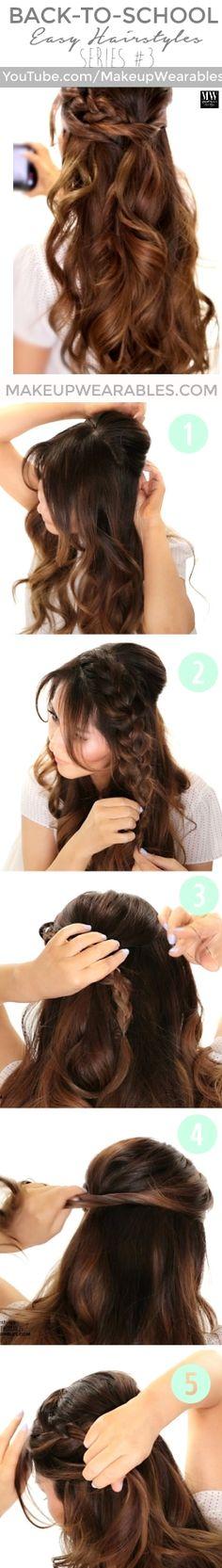 5 minute everyday braids hairstyles for school - half-up half-down: braided half-up half-down updo with curls