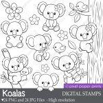 Koalas Digital Stamps