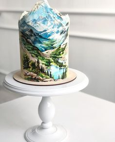 Mountain cake ideas - my tortoise mind Gorgeous Cakes, Pretty Cakes, Cute Cakes, Amazing Cakes, Mountain Cake, Nature Cake, Bolo Cake, Gateaux Cake, Painted Cakes