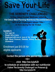 Save YOUR LIFE ~ 14 Day FALL DETOX  and WELLNESS INITIATIVE (GRANT-FUNDED) by Serenity Retreats via slideshare Join the Serenity Weight Loss and Detoxification group on FB @ https://www.facebook.com/groups/165360526823534/