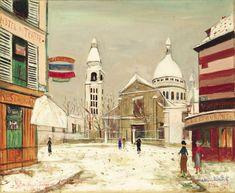 'Iglesia de Saint-Pierre de Montmartre y el Sacré-Coeur' de Maurice Utrillo (1883-1955, France)