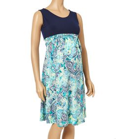 Another great find on #zulily! Green & Navy Sleeveless Maternity Dress - Plus Too #zulilyfinds