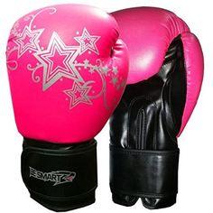 Ladies Pink Gel Boxing Gloves Bag Womens Gym Kick Pads MMA Bag Mitts Muay Thai (Pink, 8 Oz)