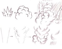 In continuation of the fire effects tutorial, let's take a look on how to draw smoke and explosions. Smoke, when no wind is present moves steadily upward in a column, usually widening as it grows f. Art Reference Poses, Drawing Reference, Zentangle Drawings, Art Drawings, Explosion Drawing, Smoke Drawing, Smoke Cloud, Wolf, Animation Sketches