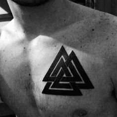 Cool Black Ink Valknut Borromean Rings Male Tattoo On Upper Chest