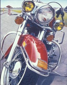 Roadside Reflections / color pencil by Patrick Cronin Amazing Drawings, Realistic Drawings, Watercolor Pencils, Watercolor Art, Pencil Drawings, Art Drawings, Colored Pencil Tutorial, Motorcycle Art, Coloured Pencils