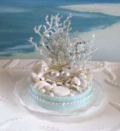 Seashell Beach Wedding Cake Topper-Pearl-Coral-Wedding Cake Topper on Etsy, $45.00