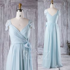 2016 Baby Blue Bridesmaid Dress, Cap Sleeves Wedding Dress, V Neck Prom Dress with Bow, Long Chiffon Evening Gown Floor Length (H183) by RenzRags on Etsy https://www.etsy.com/listing/462843289/2016-baby-blue-bridesmaid-dress-cap