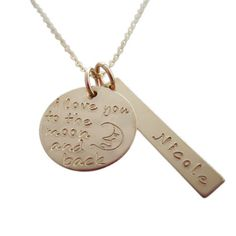 "How cute is this ""I Love You to the Moon and Back"" necklace?  A sweet First Mother's Day gift from the baby!"