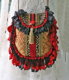 Bohemian Handbag Purse, Gypsy Purse, Hippie Bag, Shoulder Bag, Red Black Gold Crossbody Bag