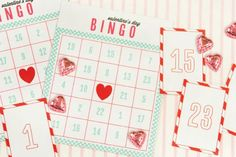 Really cute Valentine's Day Bingo cards. Download here: http://onecharmingparty.com/wordpress/wp-content/pdf-downloads/confetti-sunshine-valentine-party.pdf