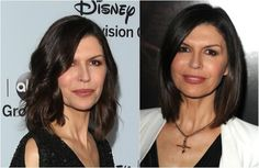 This is a Good Cut for Women in Their 50s. British actress Finola Hughes, pictured here, is in her 50s and looks great in this haircut. Note her side part and her ombre hair color (meaning the ends are lighter than her roots).