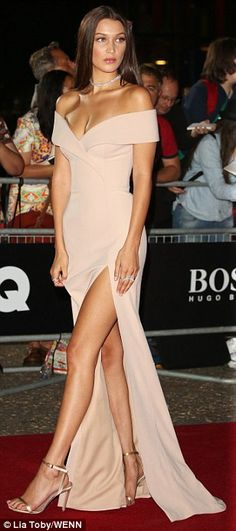 Legs AHOY! Bella, 19, added some colour to the crowd by wearing a stunning nude gown which featured and flesh-flashing sweetheart neckline