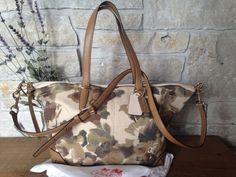 COACH Camo Floral Multi-Color Print Canvas Leather Cooper Bleecker Bag 29011 #Coach #ShoulderBag