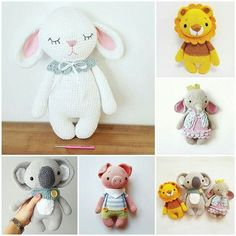 Crochet Bunny Pattern, Crochet Bear, Crochet Patterns Amigurumi, Cute Crochet, Crochet Animals, Crochet Toys, Knitting Patterns, Handmade Stuffed Animals, Personalized Gifts For Kids
