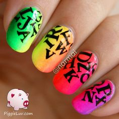 Neon letter rain #gradient #rainbow #nailart #nails #mani #polish - For more nail looks or to share yours, go to bellashoot.com