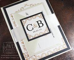 Royal Highland Wedding Invitation Modern Wedding Invitation Champagne Cream Black Light Gold -  Invitation with Ribbon Belly Band- SAMLE KIT