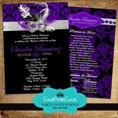 Purple Black Masquerade Quinceanera