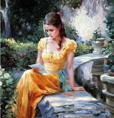 """Gold Dress"" by Vladimir Volegov, painting, cm, oil om canvas Art And Illustration, Illustrations, Dress Painting, Woman Painting, Figure Painting, Poppies Painting, Painting Canvas, Romantic Paintings, Beautiful Paintings"