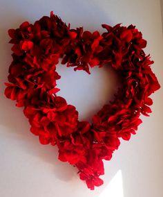 Heart Shaped Valentines Wreath - Red Hydrangea