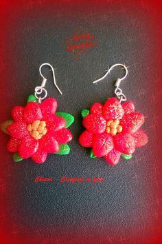 Orecchini in fimo handmade stelle di Natale rosse : Orecchini di chiara-creazioni-in-fimo