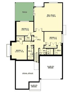 4 Bed Modern House Plan with Lower Level - 23621JD floor plan - Lower Level