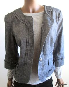 CYNTHIA STEFFE  Navy Chambray Spring Jacket *Button Front *3/4 Sleeve 8 10 12