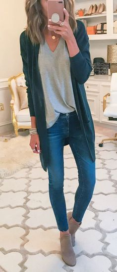 #fall #outfits women's black cardigan and gray v-neck shirt