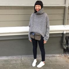 Gucci fanny pack, Celine sweater, Frame denim le high skinny jeans and Isabel Marant bart sneakers