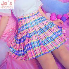 0a53cfe7b6 US $9.7 30% OFF|Harajuku Plaid Pleated Skirt High Waist Casual Rainbow A  Line Skirt Cute Korean Uniform Female Kawaii Women Bottoms Midi Skirt-in  Skirts ...