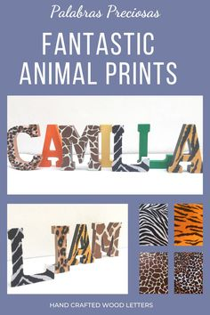 Fun animal print wood letters to complement your safari or jungle decor. Featuring zebra, tiger, cheetah and giraffe print.....choose your combination #safaridecor #junglenursery #safaribabyshower #animalprint #zebra #cheetah #giraffe #tiger #zooanimals #wildone #firstbirthday Baby Name Letters, Baby Name Signs, Nursery Letters, Wood Letters, Letter Wall, Baby Names, Nursery Name Decor, Wood Nursery, Safari Nursery