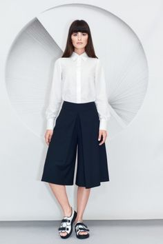 Loose-fit design black Pleated Culottes and slightly over-sized Minimalist Shirt in lightweight white cotton silk blend. Black Pleated Culottes, Cotton Silk, Chemistry, High Waisted Skirt, Minimalist, Skirts, Pants, Design, Fashion